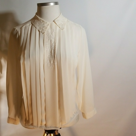 Robinsons Tops - Cream Embroidered Long Sleeve Blouse